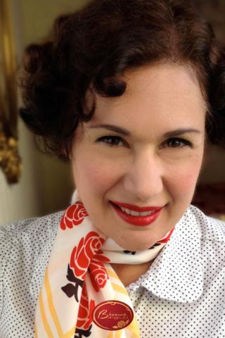 Gabriela Hernandez from Bésame Cosmetics wearing Bésame Red Lipstick