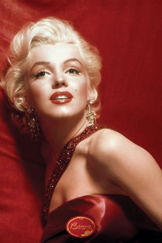 Marilyn Monroe Wearing a Red Dress and Red Lipstick