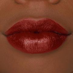 Woman lips wearing red velvet lipstick